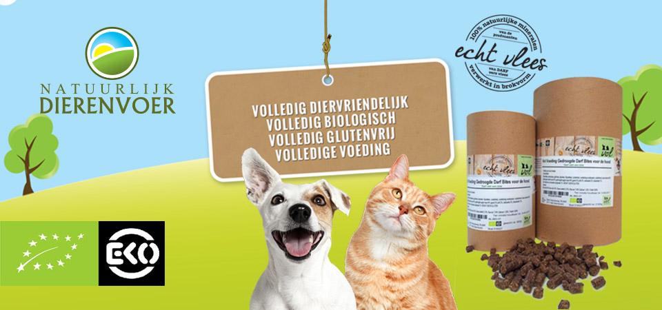 Biologisch en natuurlijk dierenvoer voor uw kat, hond of paard. Volledig diervriendelijk Volledig biologisch Volledig glutenvrij Volledige voeding